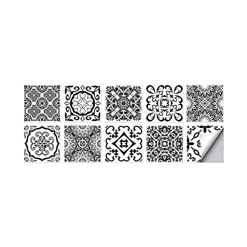QOXEFPJZ cenefa adhesiva cocina 10 unids retro luz de lujo con estampado de lujo etiqueta de azulejos DIY autoadhesivo de pared de pared Decoración de papel de cocina Cocina Película de cristal a prue
