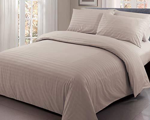 Ausumm Satin Stripe Duvet Cover with Pillow Case Quilt Set Beautiful Luxury Bedding Mink Brown Colour (Mink Brown, Double)