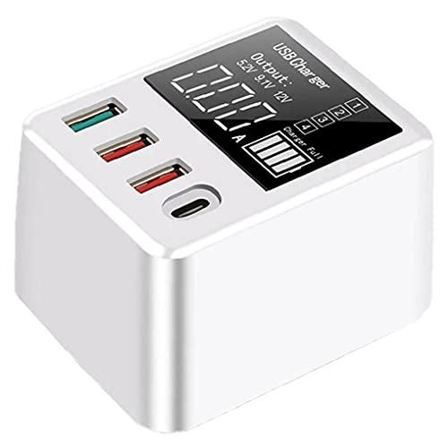 CARGADOR USB 40W QC3.0 FAST 4 PORT LED Pantalla LED Dock de carga de la pared para teléfonos inteligentes, entrega rápida de entrega de energía
