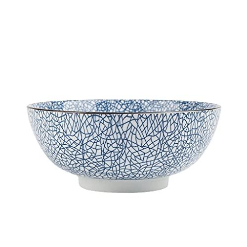 Ensaladera grande de 1450 ml, estilo japonés, cuencos de cerámica de cerámica, cuencos de porcelana para servir frutas, tazón de cereales redondo hecho a mano, tazón de sopa, fruta, fideos, 20 cm