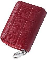 Turshell Portafoglio Piccolo Uomo Mini Portafoglio Uomo Rfid Blocking Portatessere Proteggi Custodia Carta Identità Porta Carte Credito Donna Pelle Cerniera Rosso