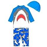 AIWUHE Baby Junge Badeanzug mit Hut Zwei Stück Schwimmanzug Sonnenschutz Schwimmbekleidung Cartoon Bade-Set, 80