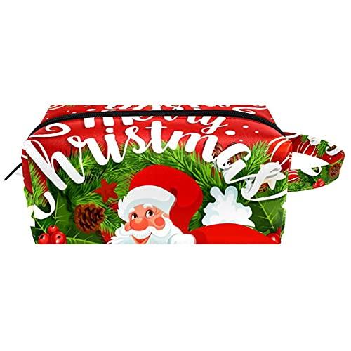 Neceser de Maquillaje Estuche Escolar para Cosméticos Bolsa de Aseo Grande,Feliz Navidad Santa Claus Vino Rojo