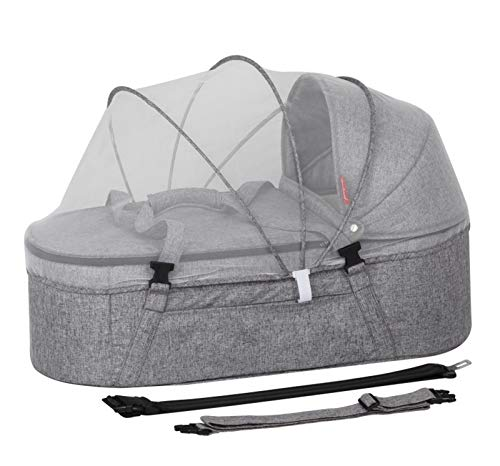 Cama Portátil para Bebés Cuna Plegable para Recién Nacidos Cuna De Viaje Nido para Dormir, Cesta para Dormir con Mosquitero Grey