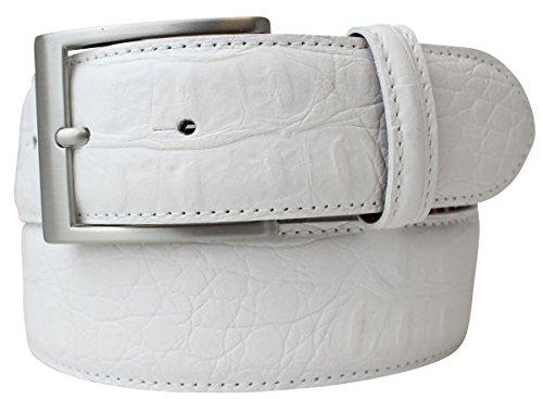 Gürtel mit Krokoprägung 4 cm   Leder-Gürtel für Damen Herren 40mm Kroko-Optik   Kroko-Muster 4cm   Weiß 85cm