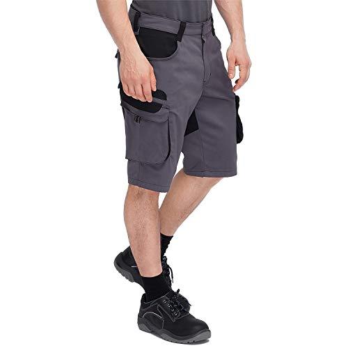Pionier  Workwear Bermuda - Pantaloni corti da lavoro | antistrappo | pantaloni corti con tasca per cellulare per cellulare, molto spazio | artigiani grigio nero 54