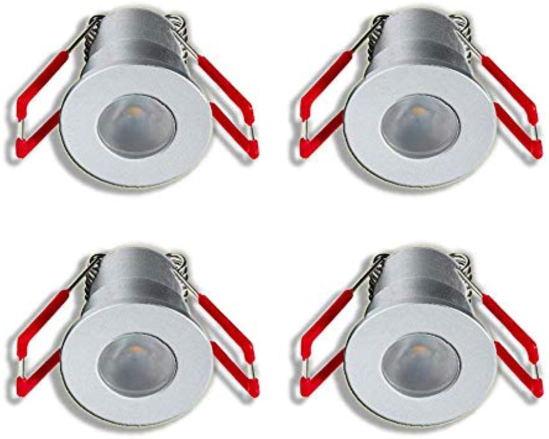 3W LED Mini Einbaustrahler, Alu, IP65 Schutz, 3000K Warmwei, Dimmbar, Funk-Netzteil, Innen- und Auenbeleuchtung ideal für Terrassenüberdachung, Badezimmer, etc (Silber, 4x Minispot)