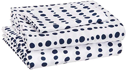 AmazonBasics Kid's Sheet Set - Soft, Easy-Wash Lightweight Microfiber - Twin, Blue Dotted Stripes