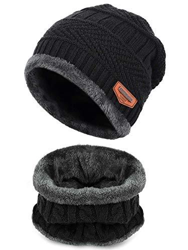 ShangLiang ニット帽子 ネックウォーマー キャップ セット ビーニーキャップ 防寒 保温 スキー スポーツ アウトドア 冬 内側に暖かい綿毛 (黒い+グレー)