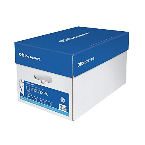 """Office Depot Multi-Use Paper, Letter Size (8 1/2"""" x 11""""), 96 (U.S.) Brightness, 20 Lb, White, Ream of 500 Sheets, Case of 10 Reams"""