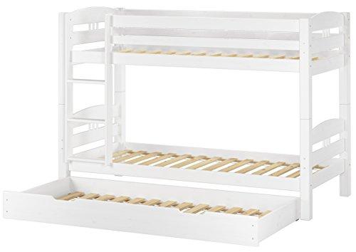 Erst-Holz® Etagenbett Kiefer waschweiß 90x200 mit Rollrost Bettkasten Kinderstockbett Hohes Bett 60.10-09WS7