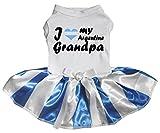 Petitebelle Vestido para perro, diseño con texto I Love My Argentina, color azul y blanco