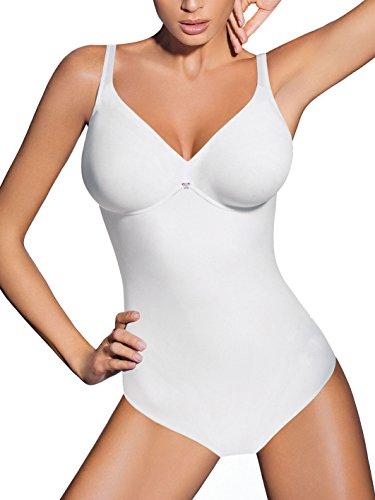 Lady Bella PA0194 Body Intimo Donna Contenitivo e Modellante Senza Ferretto - Coppa C Preformata Non Imbottita - Tessuto Doppiato per Pancia Piatta ed Effetto Snellente, Bretelle Larghe (Skin, 3C)