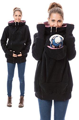 GoFuture Damen Tragejacke für Mama und Baby 4in1 Känguru Jacke Umstandsjacke Fleece mit Hochkragen Hallå GF2090XO in Schwarz mit rotweißen Streifen