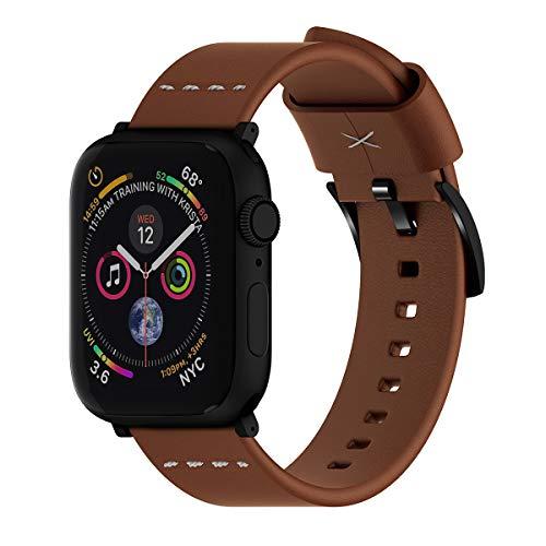 ARTCHE Uhrenarmband Leder, 42mm 44mm Uhrenarmband für Apple Watch, Retro Uhrenarmbänder Leder Verstellbarer Armband für Uhrenarmband kompatibel mit Iwatch Serie 6 SE 5 4 3 2 1, Braun
