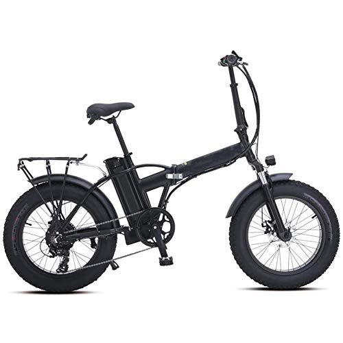 ANXIANG Electric Snow Bike 500W 20 inch Folding Mountain Bike, with a disc Brake and a Lithium Battery 48V 15AH (Color : Black)