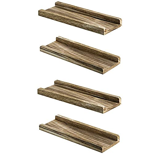 DGDF Juego de 4 estantes de madera rústica para colgar en la pared, estante para fotos, estante para plantas, soporte decorativo para el hogar, estante para especias