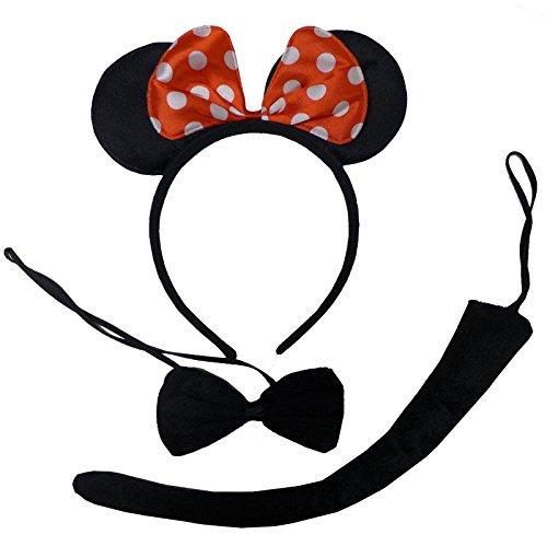 Pluche Minnie Mouse-oor, vlinderdas & muizenstaart. Zeer geschikt voor carnaval.