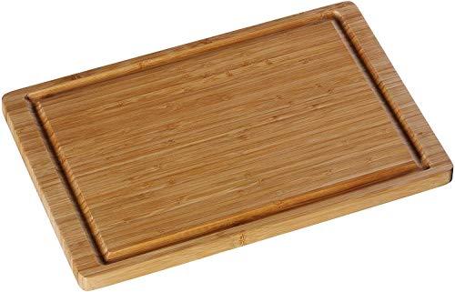 WMF snijplank hout 38 x 25 x 1,9 cm, bamboe natuurlijk, houten plank rechthoekig - trancheerplank met sapgoot - keukenplank ontziet het lemmet