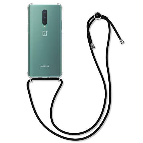 kwmobile Hülle kompatibel mit OnePlus 8 (2020) - mit Kordel zum Umhängen - Silikon Handy Schutzhülle Transparent Schwarz