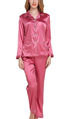 Sihuan Mujer Pijama de 2 Piezas Camisón de Satén Ropa de Dormir Manga Larga Elegante Ligero Suave