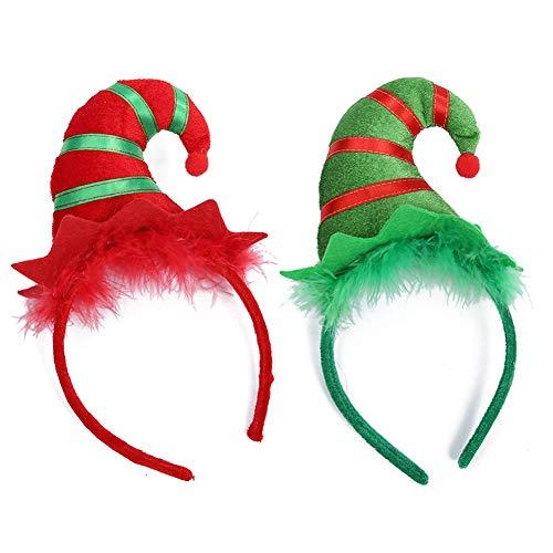 Diadema con Sombrero de Duende Navideño paquete de 2, aro para el cabello con sombrero de duende Xmas Hair Band Kids Adult Headwear para Navidad Party Fancy Dress Disfraz Decoración Photos Booth ⭐