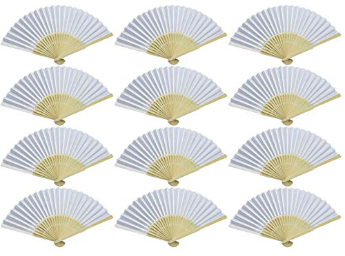 Bestsellers&Co Pro Fans for Wedding Guests - Silk Fabric Bamboo Folded Hand Fan for Women - Held Folding Party Favor Fans - Handheld Fan for Church Gift (White, 12)