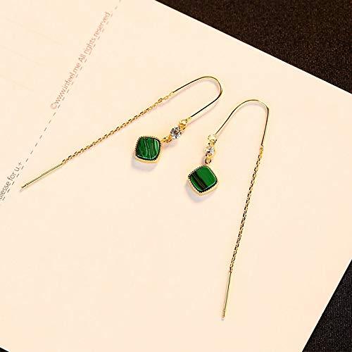 DJMJHG Pendientes Colgantes de Cadena Larga de circonita cúbica de Esmalte Verde Cuadrado Simple de Plata de Ley 925 para Mujer, Regalo de joyería de Plata