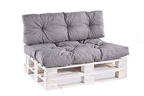 Palettenkissen Palettenauflagen Sitzkissen Rückenlehne Gesteppt PPI (Sitzkissen 120x60 Gesteppt, Grau)