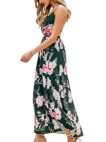 BerryGo Women's Sexy Deep V Neck Backless Floral Print Split Maxi Party Dress Green
