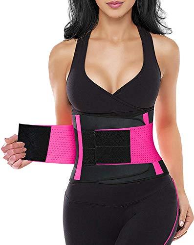 YIANNA Women Waist Trainer Belt - Slimming Sauna Waist Trimmer Belly Band Sweat Sports Girdle Belt Weight loss, YA8002-Rose-M