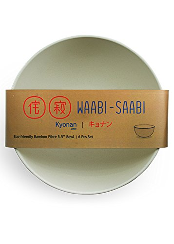 WAABI-SAABI Bamboo Fibre Bowls (Off-White, 5.5-inch) - Pack of 6