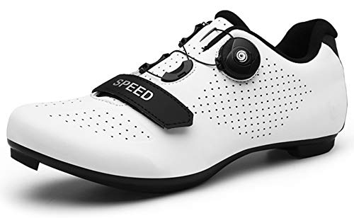 [NOXNEX] サイクルシューズ 通気性 MTBシューズ 初心者 自転車 カジュアル ロード シュ?ズ バイク 靴 快速靴紐 ベルクロ 滑りにく サイクリングシューズ メンズ用& レディーズ 用 (26.5cm,ホワイト-89)