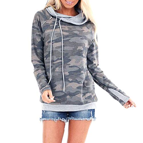BOIYI Women's Camouflage Printed Hooded Long Sleeve Jumper T-Shirt Casual Loose Hoodies Pullover Sweater Sports Blouse Top(Grey,L)