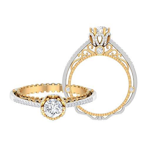 Anillo de compromiso vintage de diamantes de 1 quilate en oro de dos tonos (calidad AAA), 14K Oro blanco, Size:EU 65