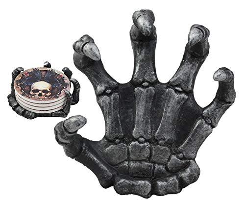 Ebros Gothic Alchemy Clutch of The Dead Skeleton Hand Resin Coaster Figurine Holder with 4 Skull Raven Tile Coasters Set Furniture Protector Ossuary Macabre Halloween Spooky Home Decor Accent