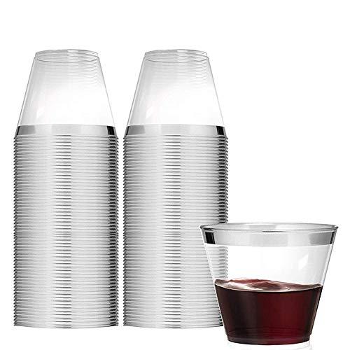 Tancurry 50Stück Durchsichtig Mit Goldrand Kunststoff Becher Plastik-Becher Trinkbecher für Party Hochzeit, Camping, Strand Und Picknick (Siber-50Stück)