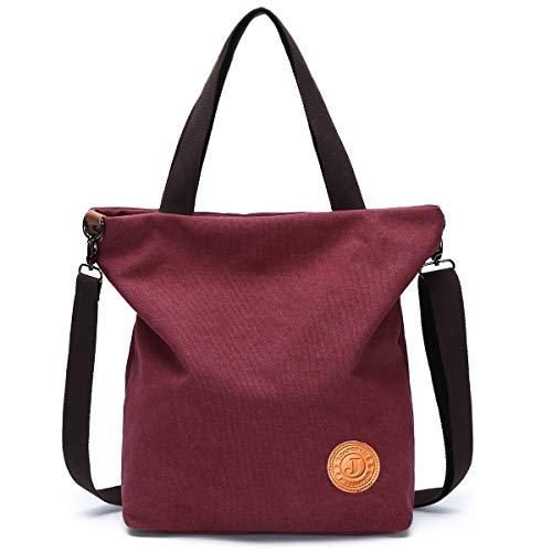 JANSBEN Damen Canvas Handtasche Schultertasche Casual Multifunktionale Umhängetaschen Strandtasche Groß für Arbeit Schule Shopper Beach (weinrot)