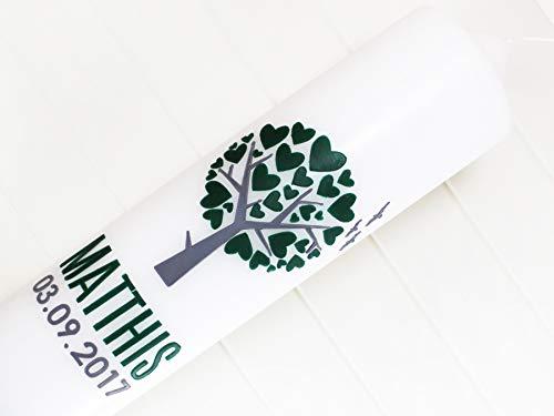 Taufkerze Lebensbaum Junge oder Mädchen, Taufe, Kommunionkerze, Herzbaum, Baum, Kerzen, Wachs, handgemacht, weiß, 275x70mm, made in germany