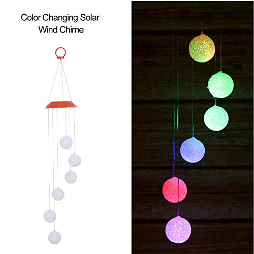 Yhhzw Outdoor Led Hanging Night Lights Solar Garden Light Color Changing Solar Lamp Wind Chime Six Balls Mobile Romantic Wind-Bell