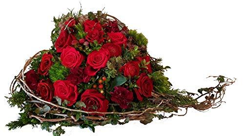 Grabgesteck Herz -Für Immer und Ewig- mit roten Rosen Trauergesteck Friedhof