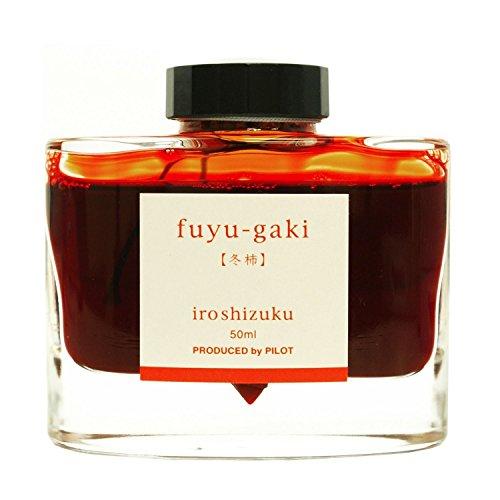 Pilot Iroshizuku Fountain Pen Ink - 50 ml Bottle - Fuyu-gaki Persimmon (Vermilion Red Orange) (Japan Import)