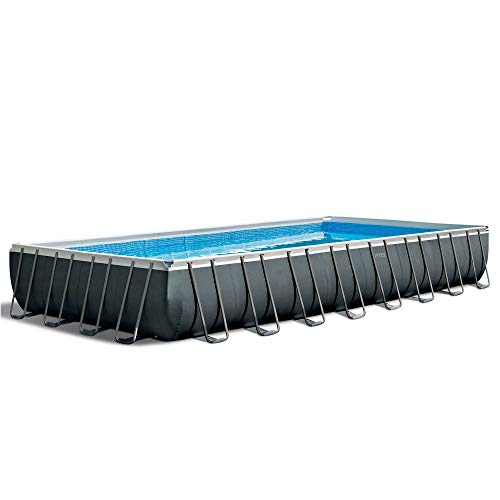 """Intex 32' x 16' x 52"""" Rectangular Ultra XTR Frame Outdoor Above Ground Swimming Pool with Pump, Sand Filter, Pool Ladder, Ground Cloth, and Pool Cover"""