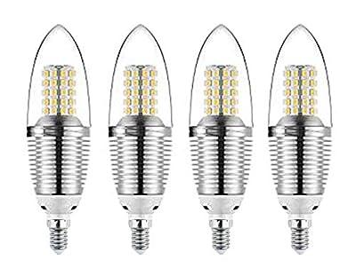 CTKcom 12W E14 LED Bulb Candelabra LED Light Bulb(4 Pack)- E14 LED Candle Bulbs Warm White 3000K,100W Incandescent lamp,Candle Light Torpedo Shape,AC 110V 1200LM LED Lights
