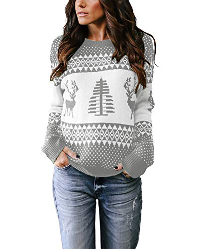 YOINS Women Merry Christmas Sweaters Reindeer Pullovers Snowflake Xmas Tree Knitted Jumpers Long Sleeve Snow Tops Ladies Grey M