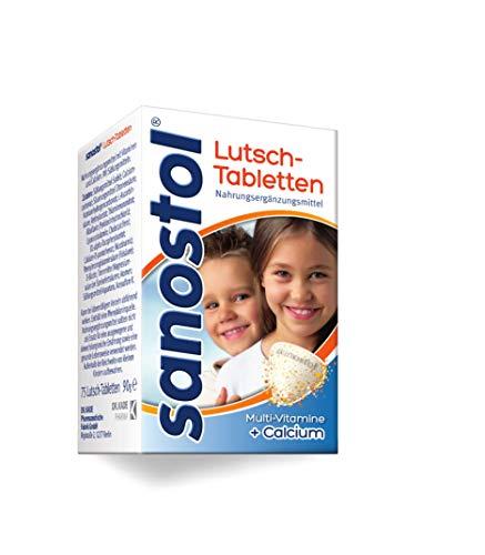 Sanostol Lutschtabletten: Extraportion Vitamine für Kinder ab 4 Jahren und Erwachsene, mit Calcium für den Erhalt normaler Knochen, 75 Stk