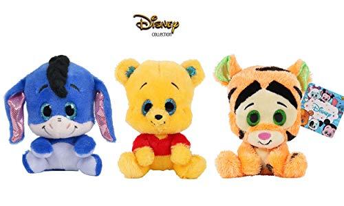 Dsney Famosa Softies - Pack de 3 Peluches de Winnie The Pooh y Amigos Glitzies 6'29'/16cm Calidad Super Soft 760015683