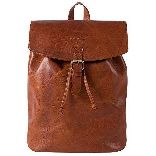 HOLZRICHTER Berlin Rucksack No 2-3 (M) aus echtem Leder - Premium Daypack im Vintage-Look für Damen & Herren - Cognac-Braun