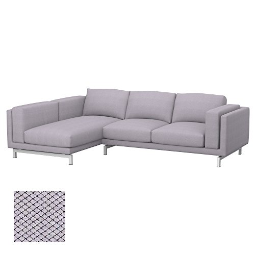 Soferia - IKEA NOCKEBY Funda para sofá de 2 plazas, Izquierda, Nordic Light Grey