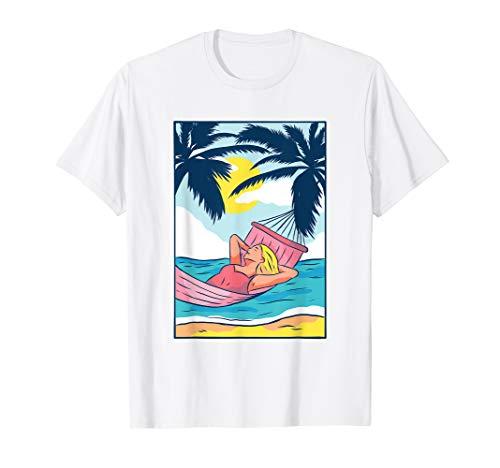 Frau in Hängematte Urlaub Sommer Sonne Strand Palmen Meer